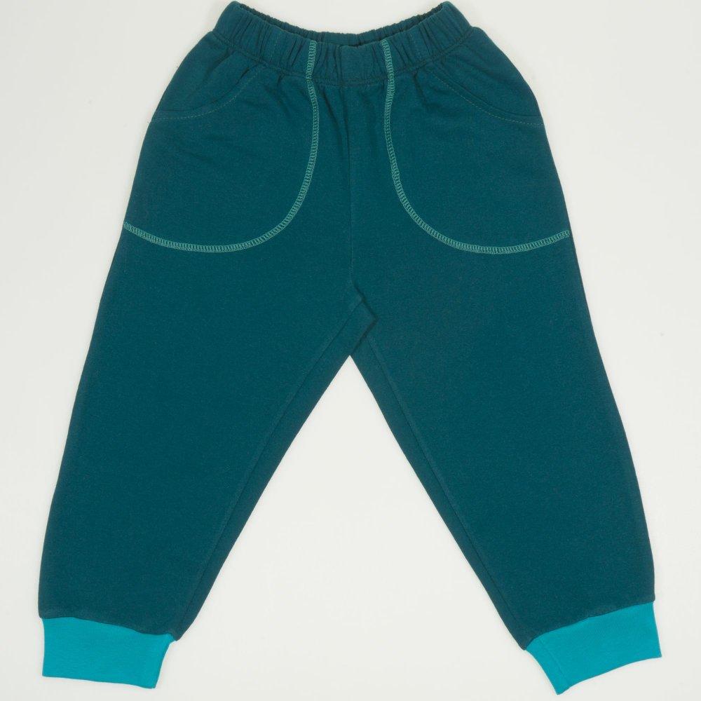 Pantaloni trening subtiri verde inchis cu buzunar | liloo