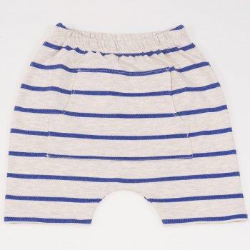 Pantaloni scurti bej cu dungi albastre