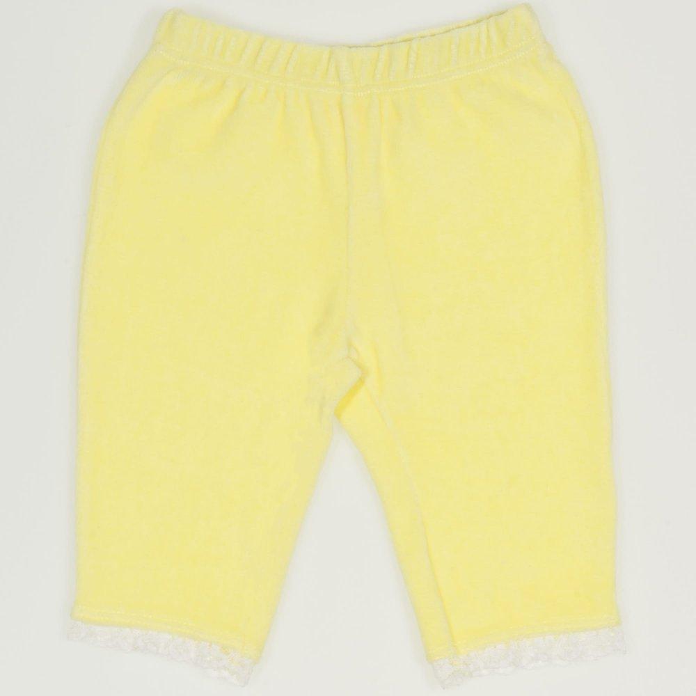 Pantaloni trei sferturi catifea galbena cu dantela alba | liloo