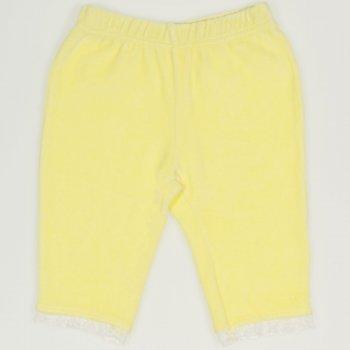 Pantaloni catifea galbeni cu dantela alba