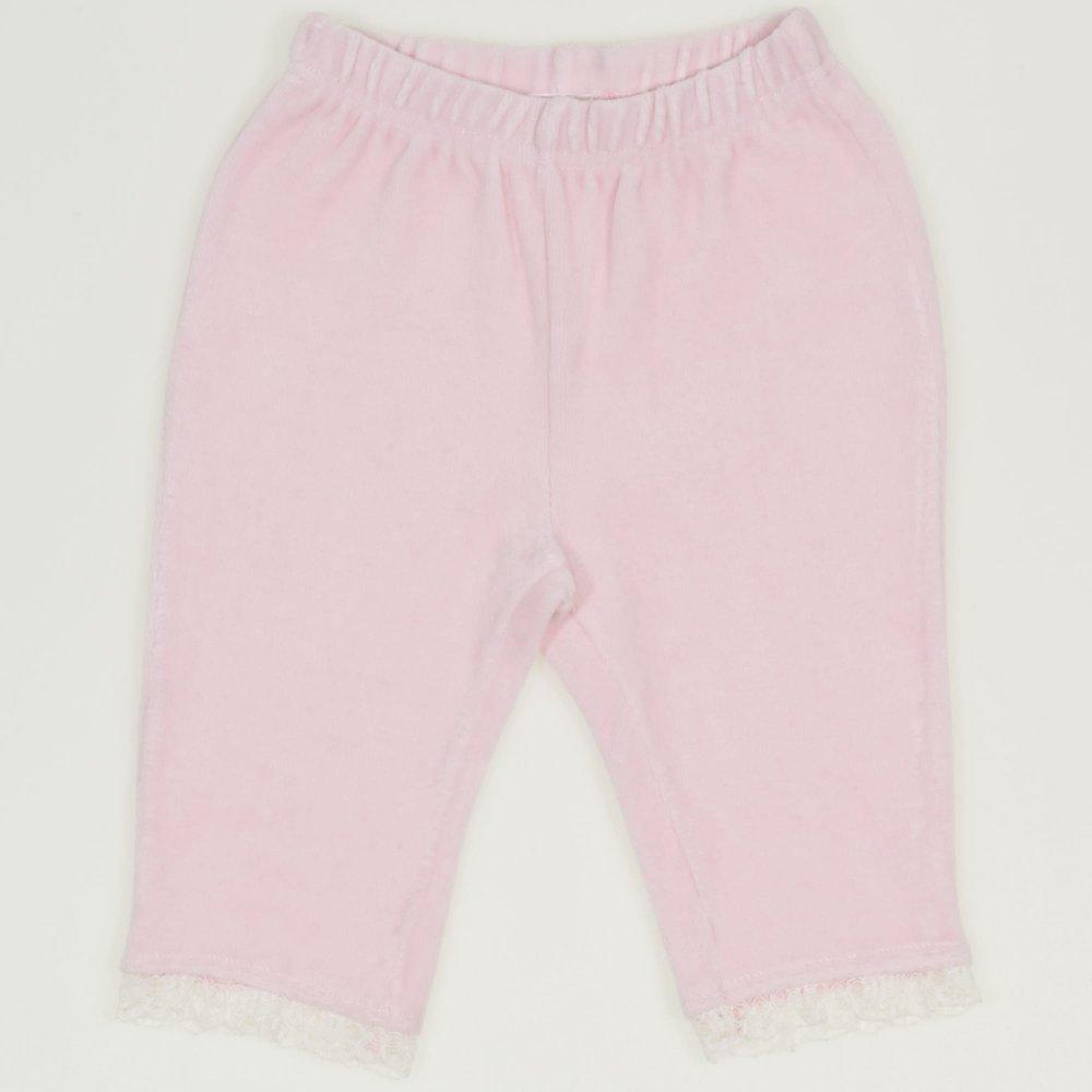 Pantaloni trei sferturi catifea roz cu dantela alba | liloo