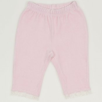 Pantaloni trei sferturi catifea roz cu dantela alba