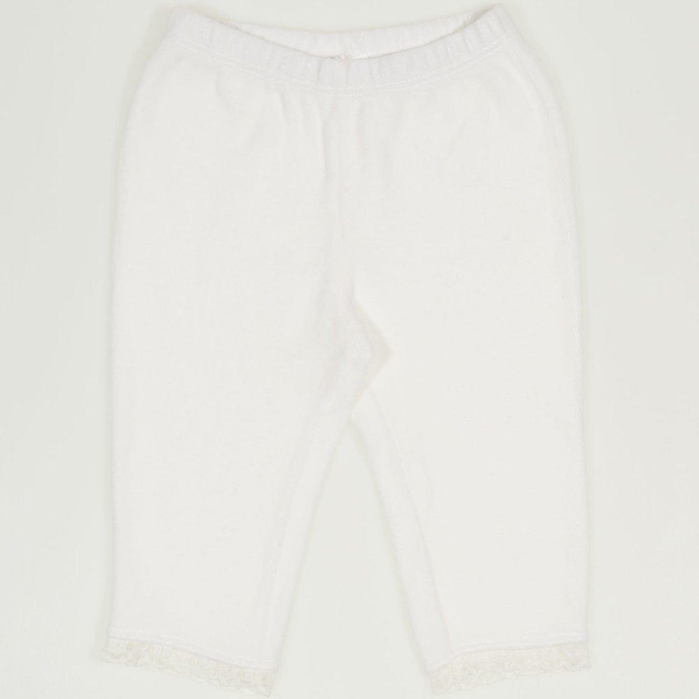 Pantaloni catifea alba cu dantela alba | liloo