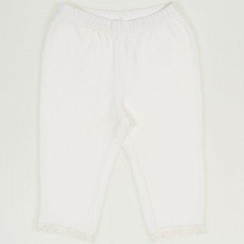 Pantaloni trei sferturi catifea alba cu dantela alba