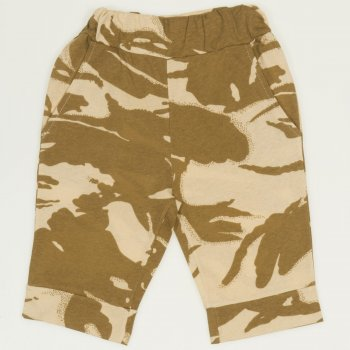 Pantaloni trei sferturi imprimeu model camuflaj deschis