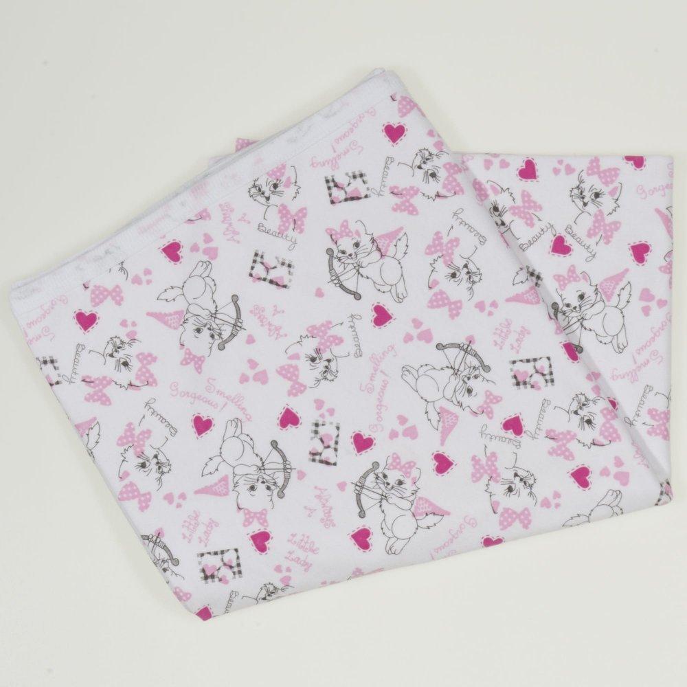 Păturică subțire (simplă) albă cu imprimeu model pisicute | liloo