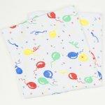 Păturică subțire (simplă) albă cu imprimeu model baloane| liloo
