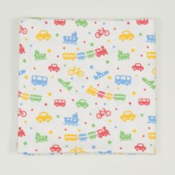 Single layer blanket with transport toys print