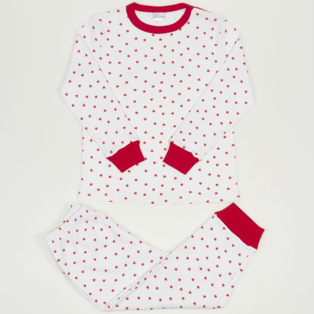 Pijamale groase imprimeu model stelute rosii | liloo