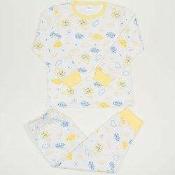Pijamale groase imprimeu model testoase cu galben