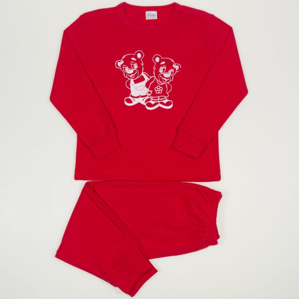 Pijamale groase rosii imprimeu ursuleti | liloo