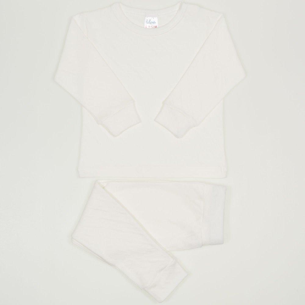 Pijamale bebelusi ecru - material multistrat premium cu model | liloo