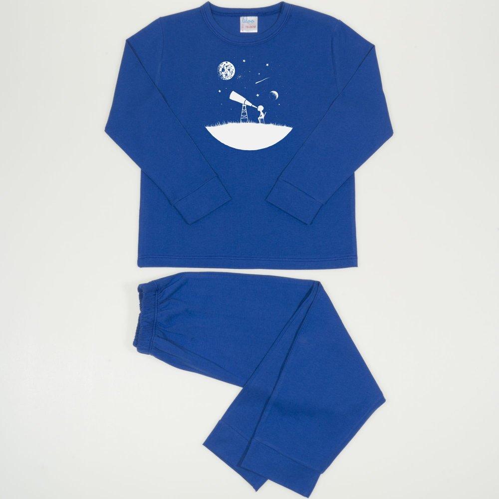 Pijamale primavara-toamna albastru inchis imprimeu explorand universul | liloo