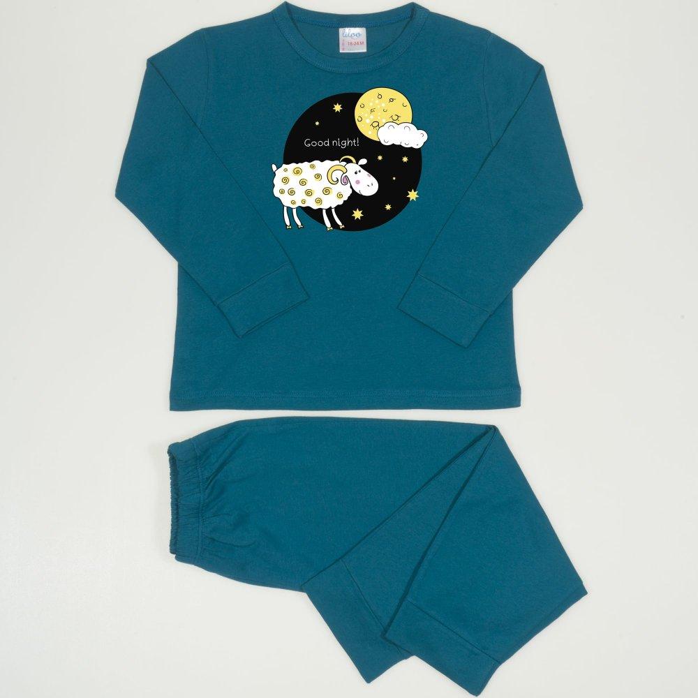 Pijamale primavara-toamna albastru inchis-verzui imprimeu Good Night | liloo