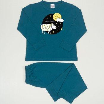 Pijamale primavara-toamna albastru inchis-verzui imprimeu Good Night