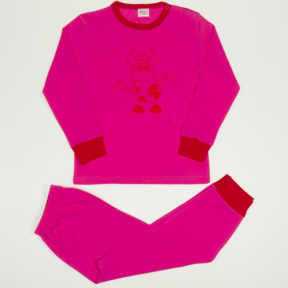 Pijamale primăvară-toamnă fucsia imprimeu vacuta | liloo