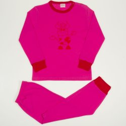 Pijamale primavara-toamna fucsia imprimeu vacuta