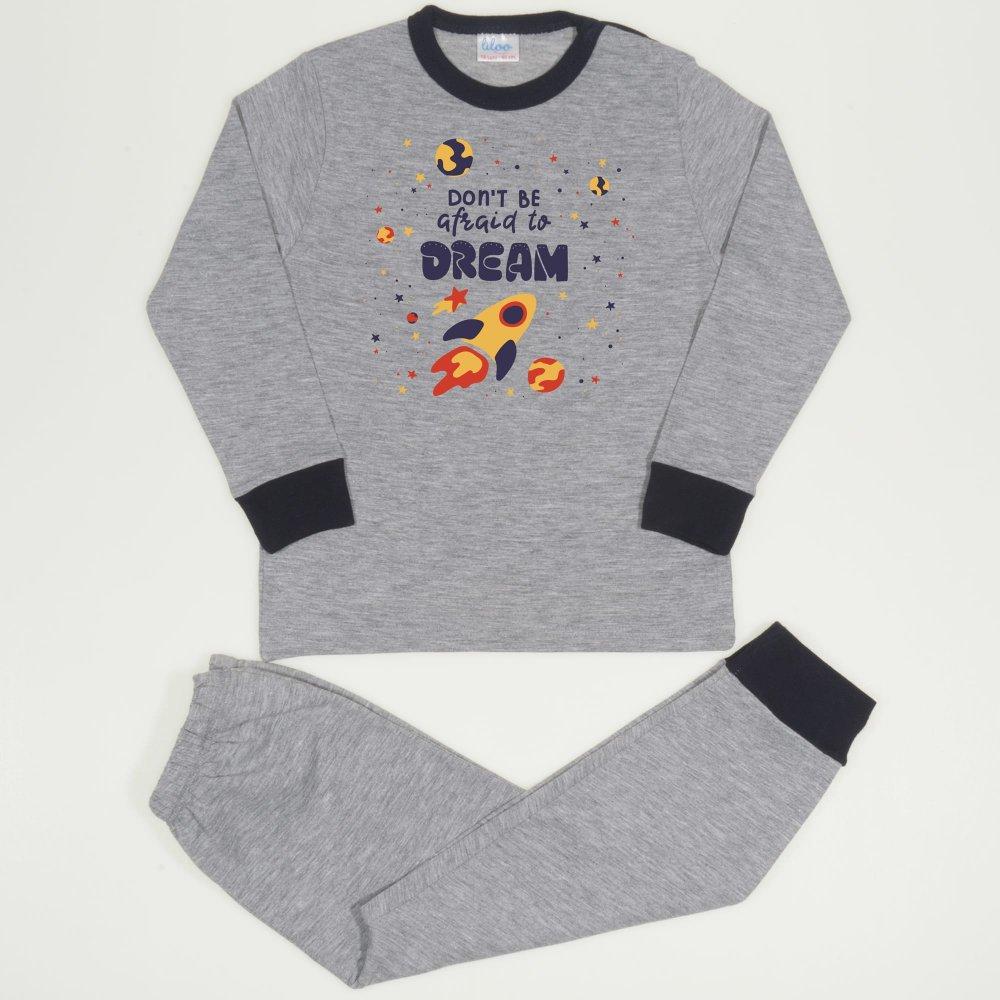 Pijamale primăvară-toamnă gri imprimeu racheta| liloo