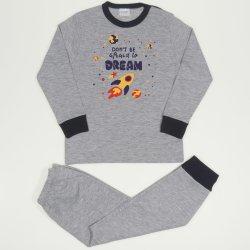 Pijamale primavara-toamna gri imprimeu racheta