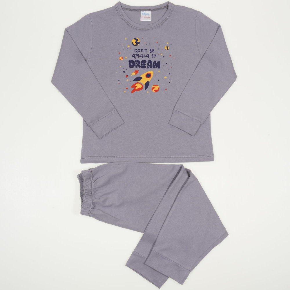 Pijamale primavara-toamna gri inchis imprimeu racheta | liloo