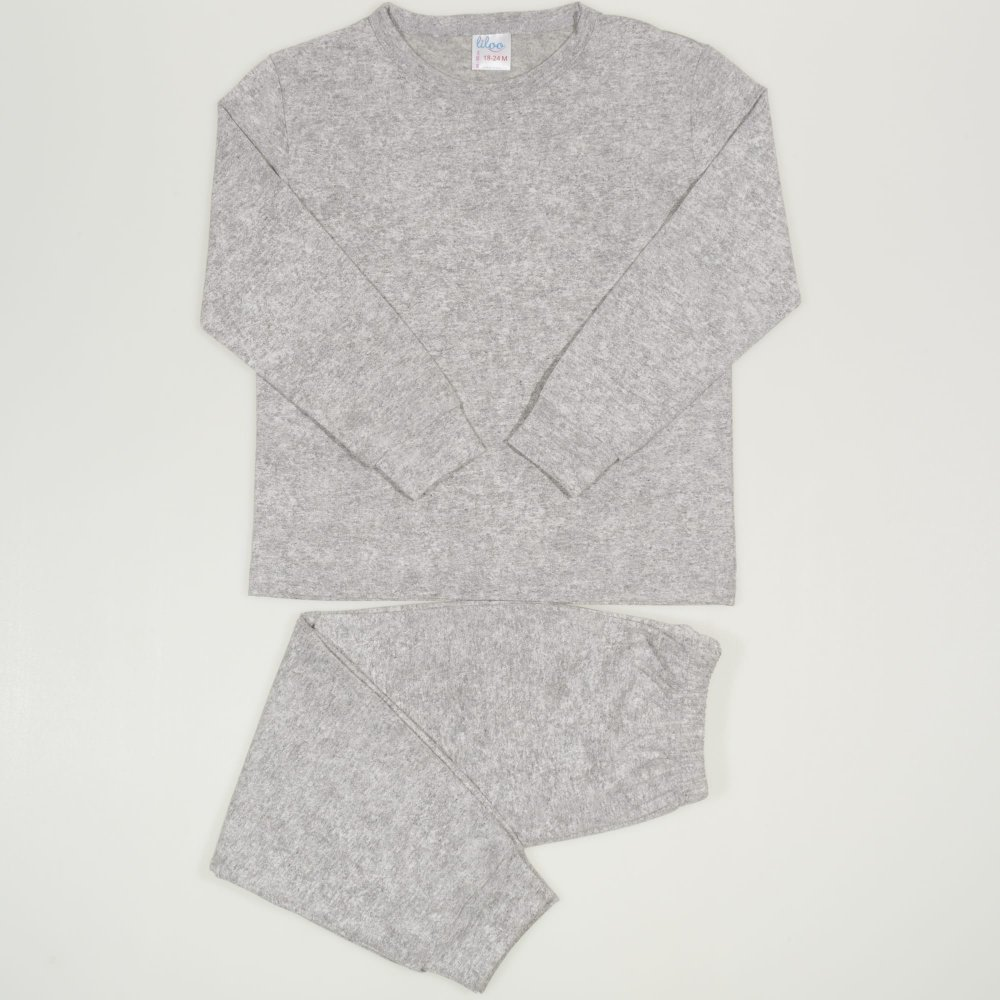 Pijamale primavara-toamna gri melange uni | liloo