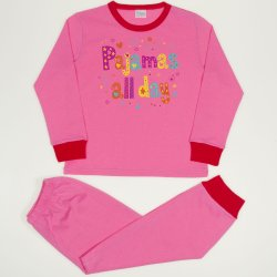 Dark pink long-sleeve thin pajamas with pijamas all day print