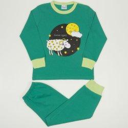 "Pijamale primavara-toamna verde mint imprimeu ""Good night"""