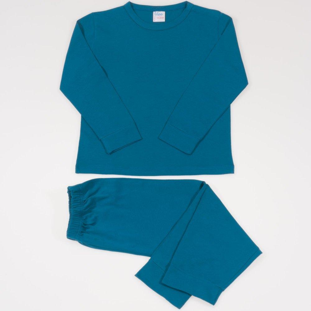 Pijamale primavara-toamna albastru inchis-verzui uni | liloo