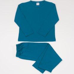 Pijamale primavara-toamna albastru inchis-verzui uni