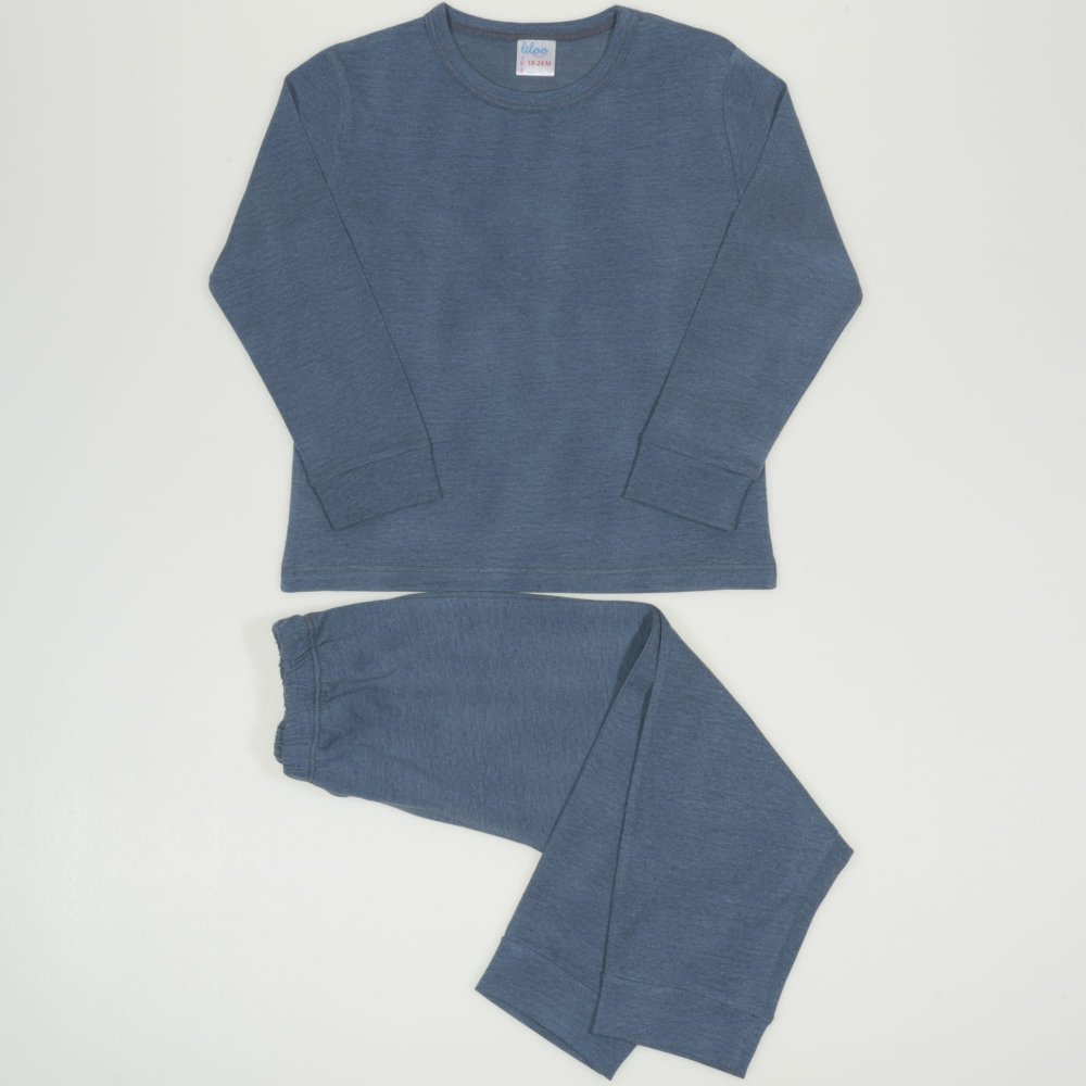 Pijamale primavara-toamna albastru-verzui melange uni | liloo