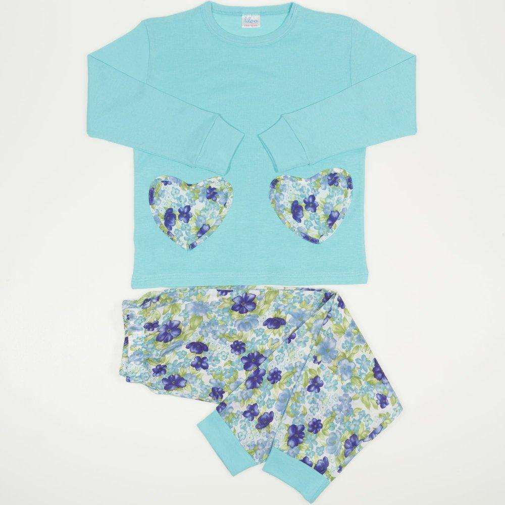 Pijamale primavara-toamna aqua imprimeu floral | liloo