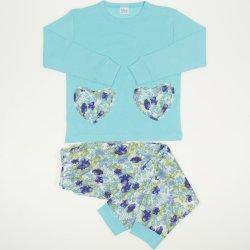 Pijamale primavara-toamna aqua imprimeu floral