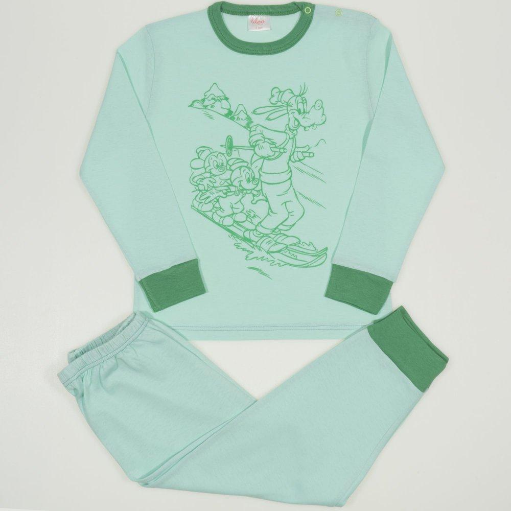 Pijamale primavara-toamna aqua - mansete verzi imprimeu soricei   liloo