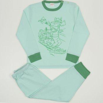 Pijamale primavara-toamna aqua - mansete verzi imprimeu soricei