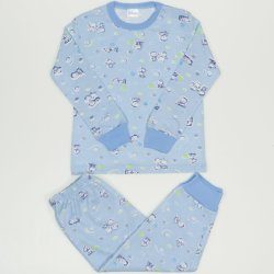 Azure long-sleeve thin pajamas with sweet baby print