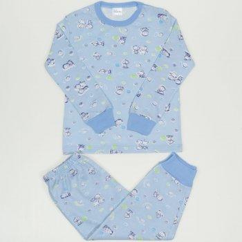 Pijamale primavara-toamna azur imprimeu model sweet baby