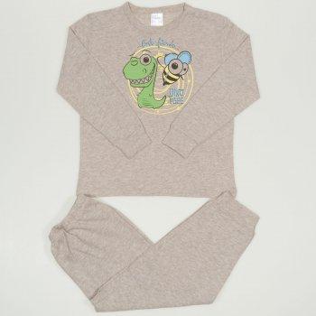 Pijamale primavara-toamna bej melange imprimeu Dino and Bee