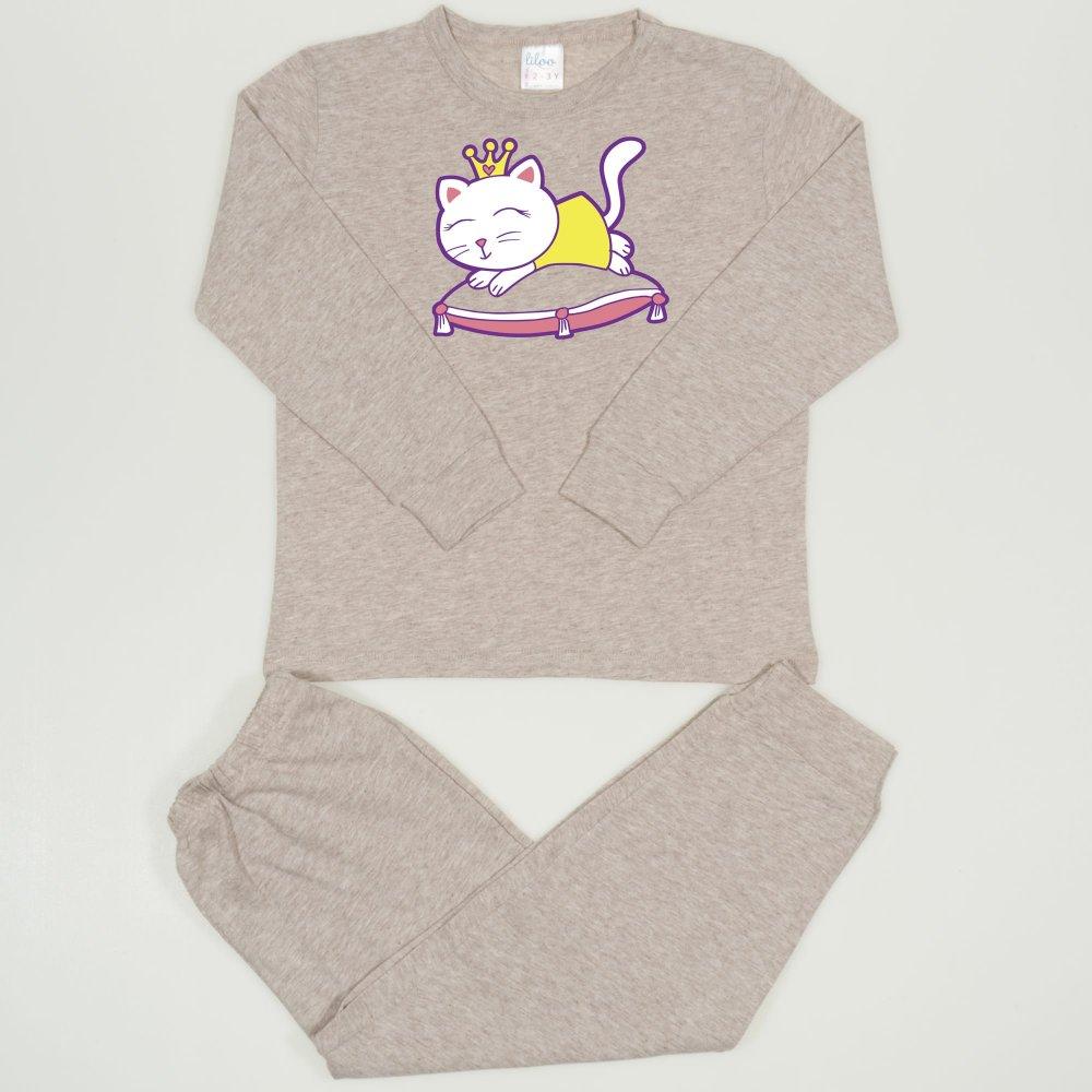 Pijamale primavara-toamna bej melange imprimeu pisicuta | liloo