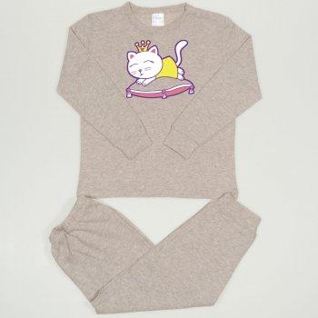 Pijamale primavara-toamna bej melange imprimeu pisicuta