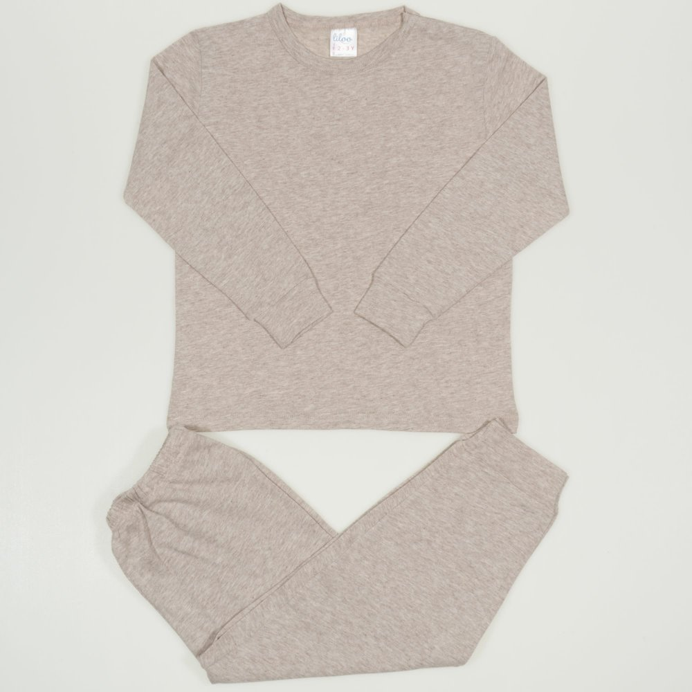 Pijamale primavara-toamna bej melange uni | liloo