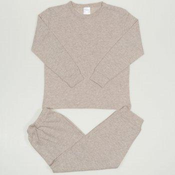 Pijamale primavara-toamna bej melange uni
