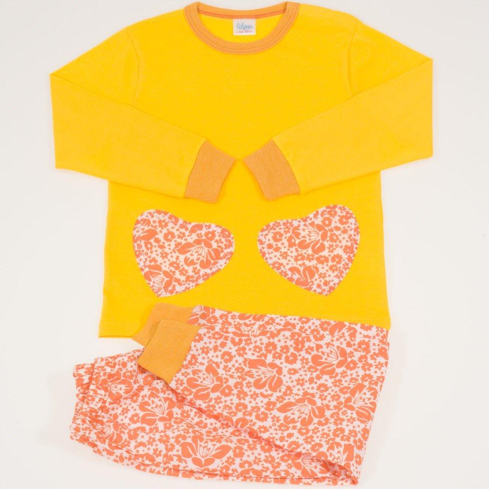 Pijamale primavara-toamna galben imprimeu floral | liloo