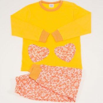Pijamale primavara-toamna galben imprimeu floral