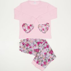 Pink long-sleeve thin pajamas with flowered print