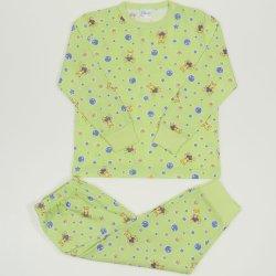 Pijamale primavara-toamna verde lime imprimeu model ursuleti