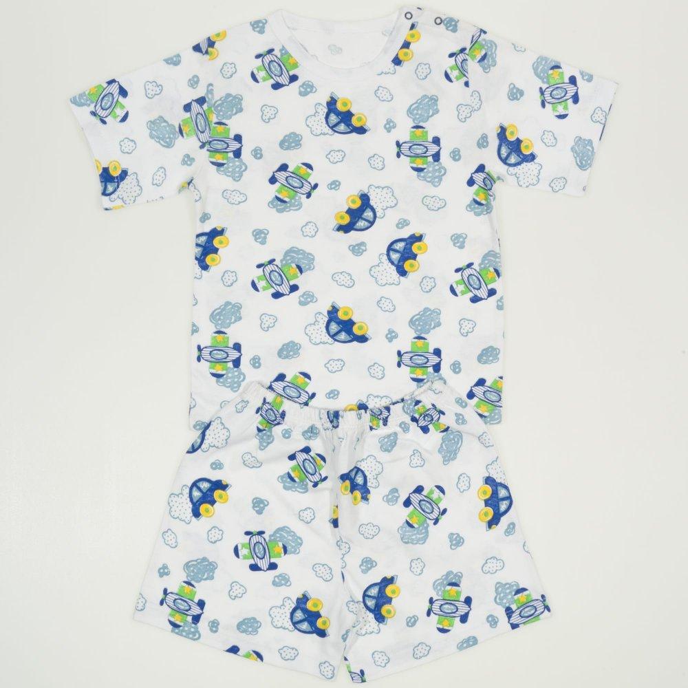 Pijamale vara cu maneca scurta si pantaloni scurti alba imprimeu model masinute si avioane | liloo