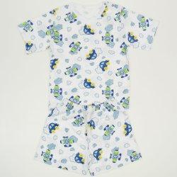 Pijamale vara cu maneca scurta si pantaloni scurti alba imprimeu model masinute si avioane