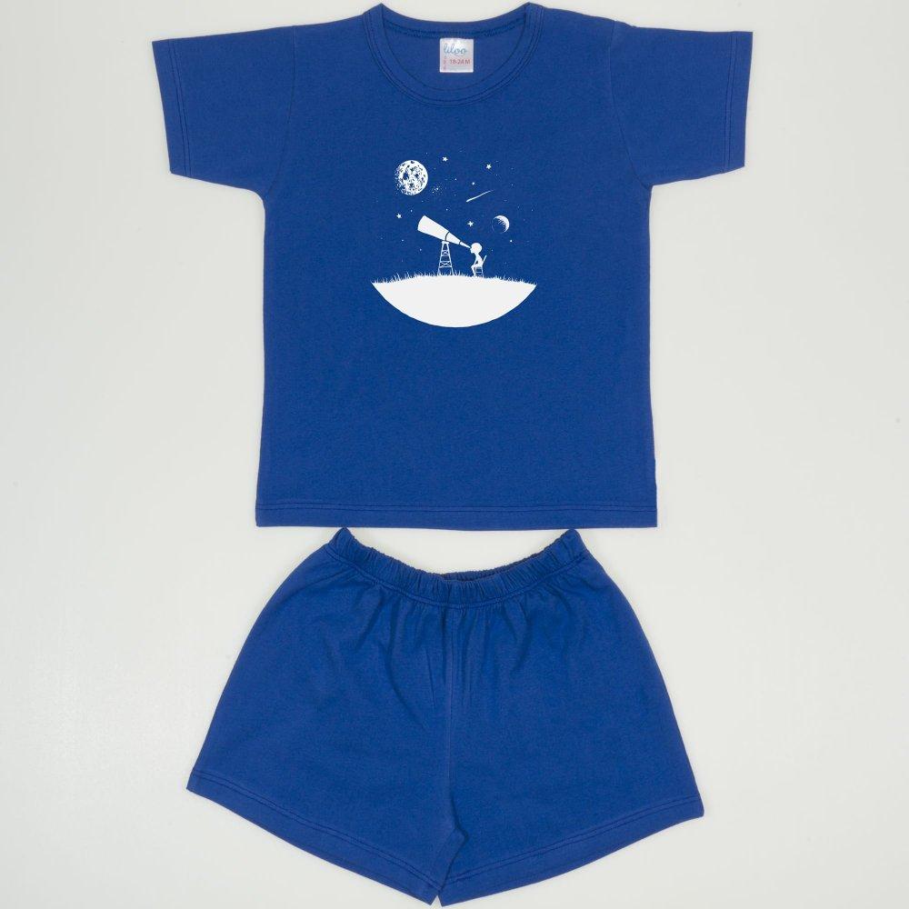 Pijamale vara cu maneca scurta si pantaloni scurti albastru inchis imprimeu explorand universul | liloo