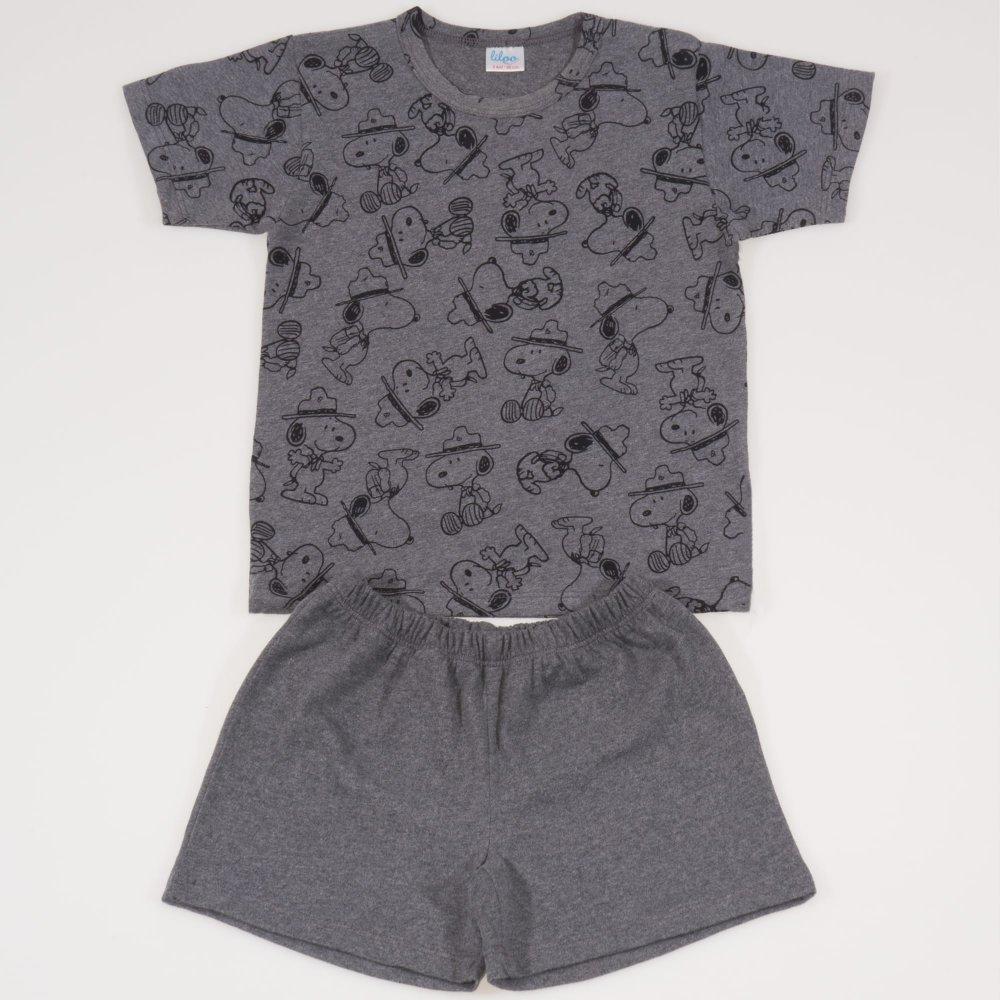 Pijamale vara cu maneca scurta si pantaloni scurti gri inchis imprimeu catelusi | liloo