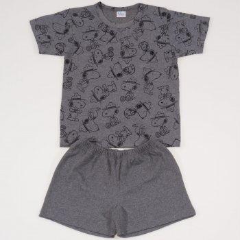 Pijamale vara cu maneca scurta si pantaloni scurti gri inchis imprimeu catelusi
